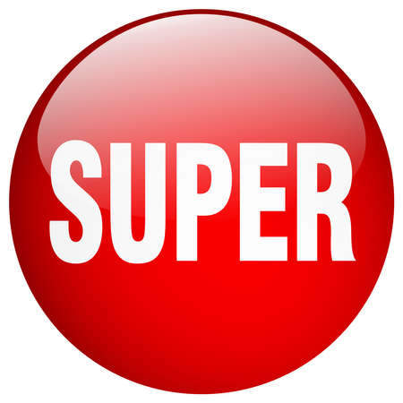 super red: super red round gel isolated push button Illustration