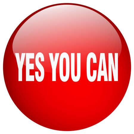 can yes you can: yes you can red round gel isolated push button
