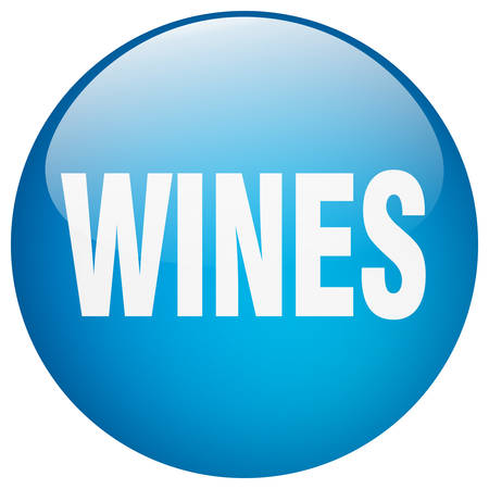 wines: wines blue round gel isolated push button