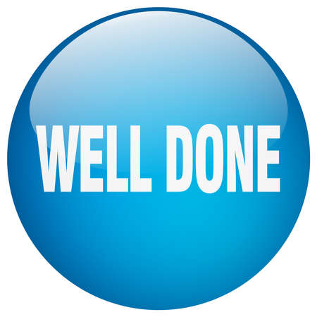 well: well done blue round gel isolated push button