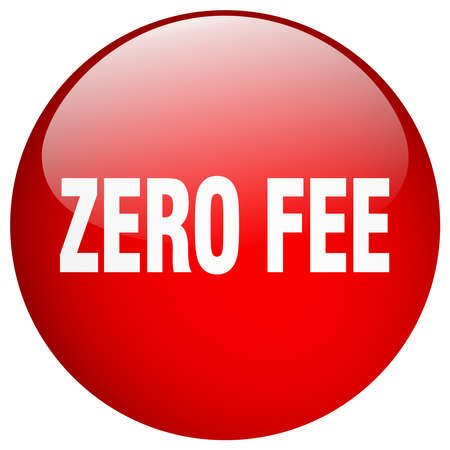 fee: zero fee red round gel isolated push button Illustration