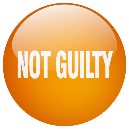 guilt: not guilty orange round gel isolated push button