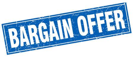 bargain: bargain offer blue square grunge stamp on white