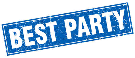 best party: best party blue square grunge stamp on white