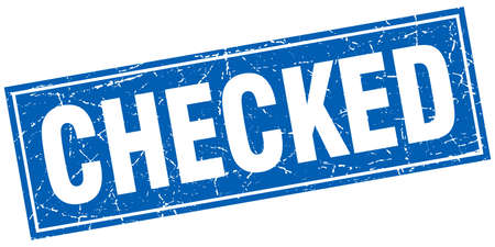 checked: checked blue square grunge stamp on white Illustration