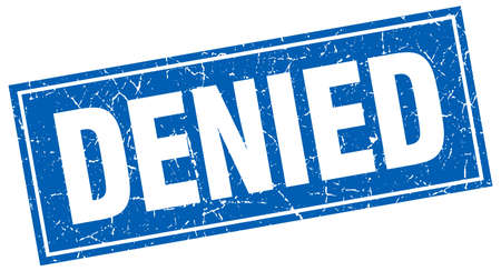 denied: denied blue square grunge stamp on white
