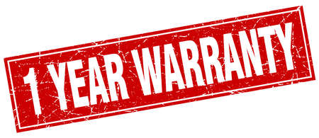 one year warranty: 1 year warranty red square grunge stamp on white