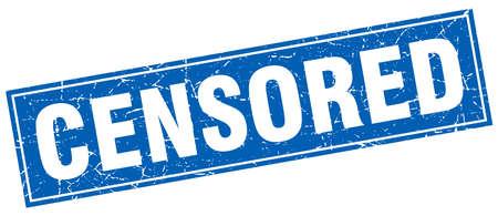censored: censored blue square grunge stamp on white