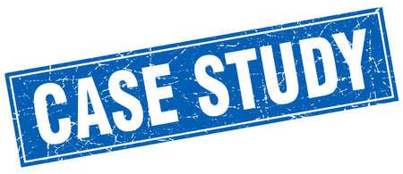 étude de cas carré bleu grunge timbre sur blanc