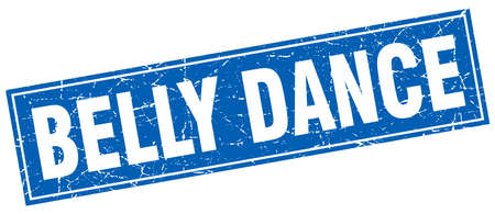 belly dance: belly dance blue square grunge stamp on white