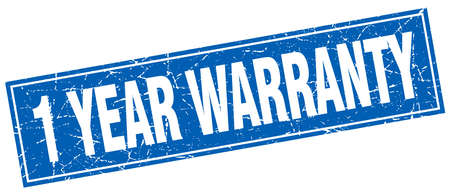 one year warranty: 1 year warranty blue square grunge stamp on white