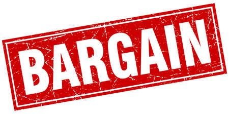 bargain red square grunge stamp on white Vector Illustration