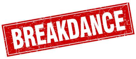 breakdance: breakdance red square grunge stamp on white