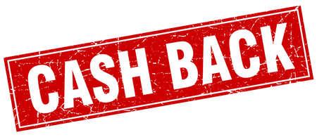 cash back: cash back red square grunge stamp on white Illustration