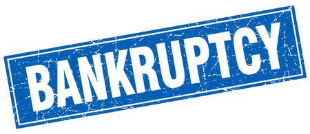 bankrupt: bankruptcy blue square grunge stamp on white