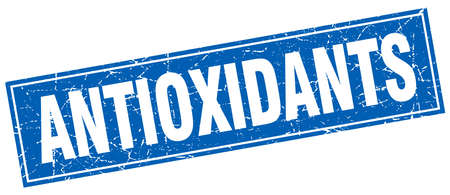 antioxidants: antioxidants blue square grunge stamp on white