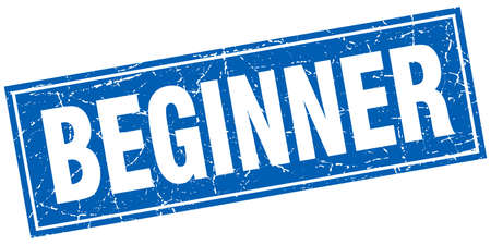 beginner: beginner blue square grunge stamp on white