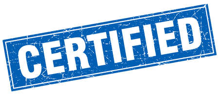 certify: certified blue square grunge stamp on white