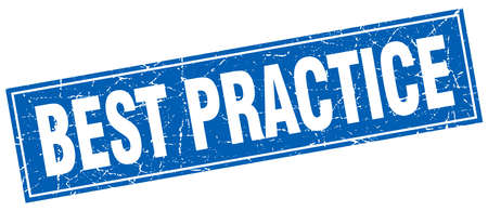 best practices: best practice blue square grunge stamp on white