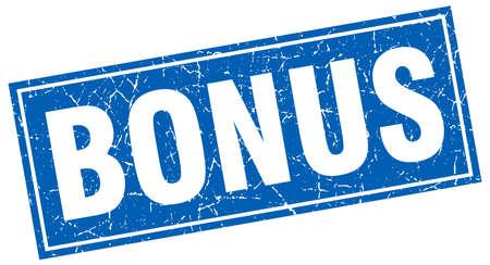 bonus: bonus blue square grunge stamp on white