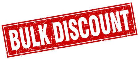 bulk: bulk discount red square grunge stamp on white