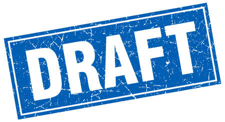 draft: draft blue square grunge stamp on white Illustration