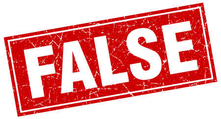 false: false red square grunge stamp on white