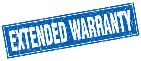 extended: extended warranty blue square grunge stamp on white