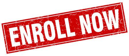 enroll: enroll now red square grunge stamp on white