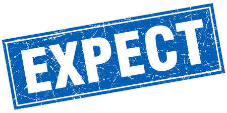 to expect: expect blue square grunge stamp on white