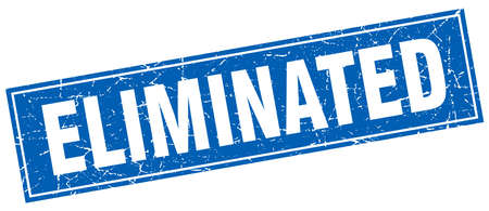 eliminated: eliminated blue square grunge stamp on white