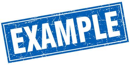 Beispiel blaues Quadrat Grunge-Stempel auf weiß Vektorgrafik