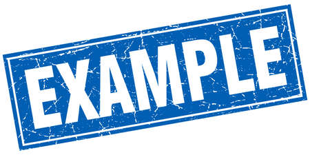 an example: example blue square grunge stamp on white