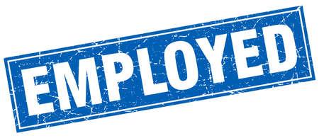 employed: employed blue square grunge stamp on white