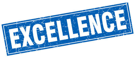 excellence: excellence blue square grunge stamp on white