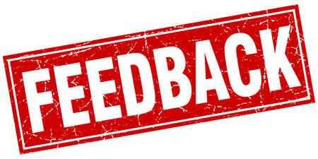 feedback label: feedback red square grunge stamp on white
