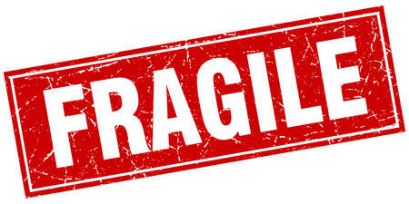 fragile red square grunge stamp on white