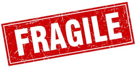 fragiele rode vierkant grunge stempel op wit Stock Illustratie