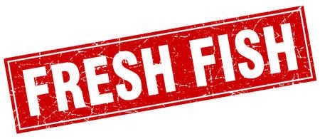 fresh fish: fresh fish red square grunge stamp on white