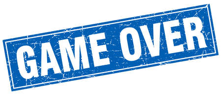 the game is over: game over blue square grunge stamp on white