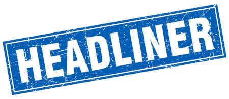 headliner: headliner blue square grunge stamp on white
