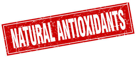 antioxidants: natural antioxidants red square grunge stamp on white