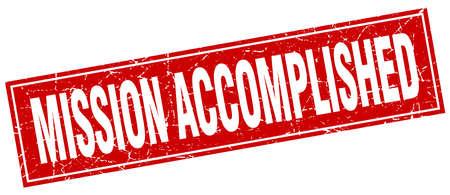 accomplish: mission accomplished red square grunge stamp on white