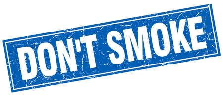 dont: dont smoke blue square grunge stamp on white