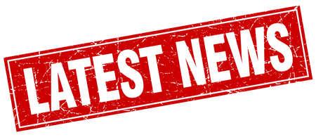 latest news: latest news red square grunge stamp on white Illustration