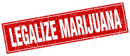 legalize: legalize marijuana red square grunge stamp on white Illustration