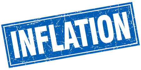inflation: inflation blue square grunge stamp on white