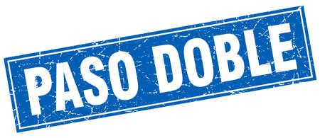 paso doble: paso doble blue square grunge stamp on white