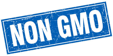 genetically: non gmo blue square grunge stamp on white