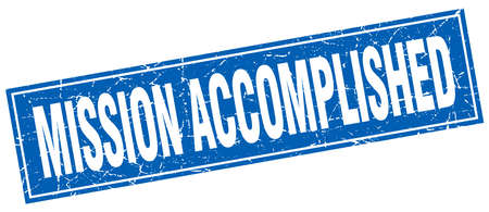 accomplished: mission accomplished blue square grunge stamp on white